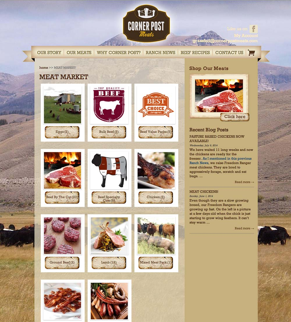 Portfolio - Corner Post Meats Shop Page